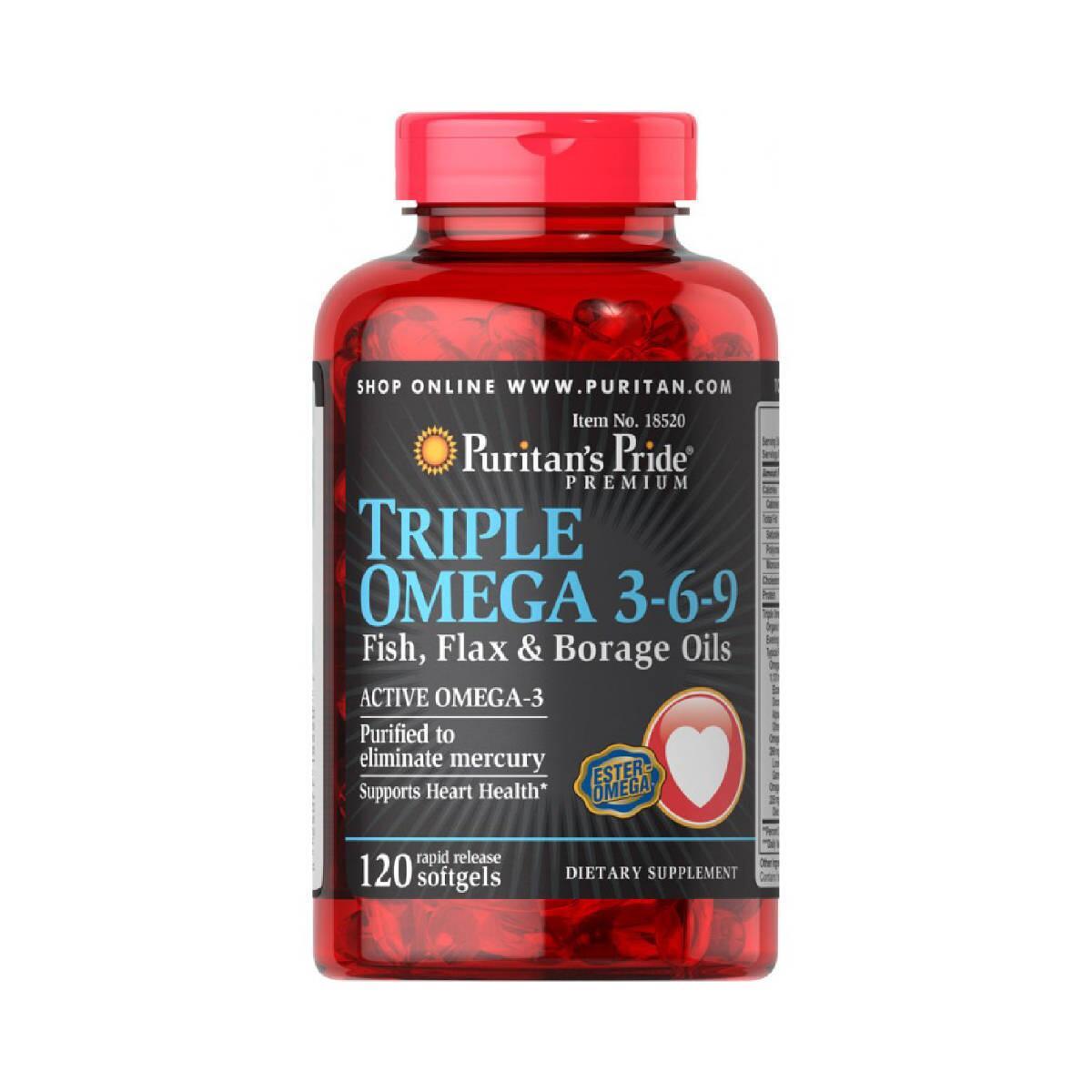 Puritan's Pride Triple Omega 3 6 9 Fish, Flax & Borage Oils 120 Viên - hỗ trợ tim mạch