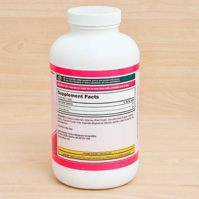 Viên Uống Bổ Sung Canxi Kirkland Signature Calcium 600mg + D3 500 Viên