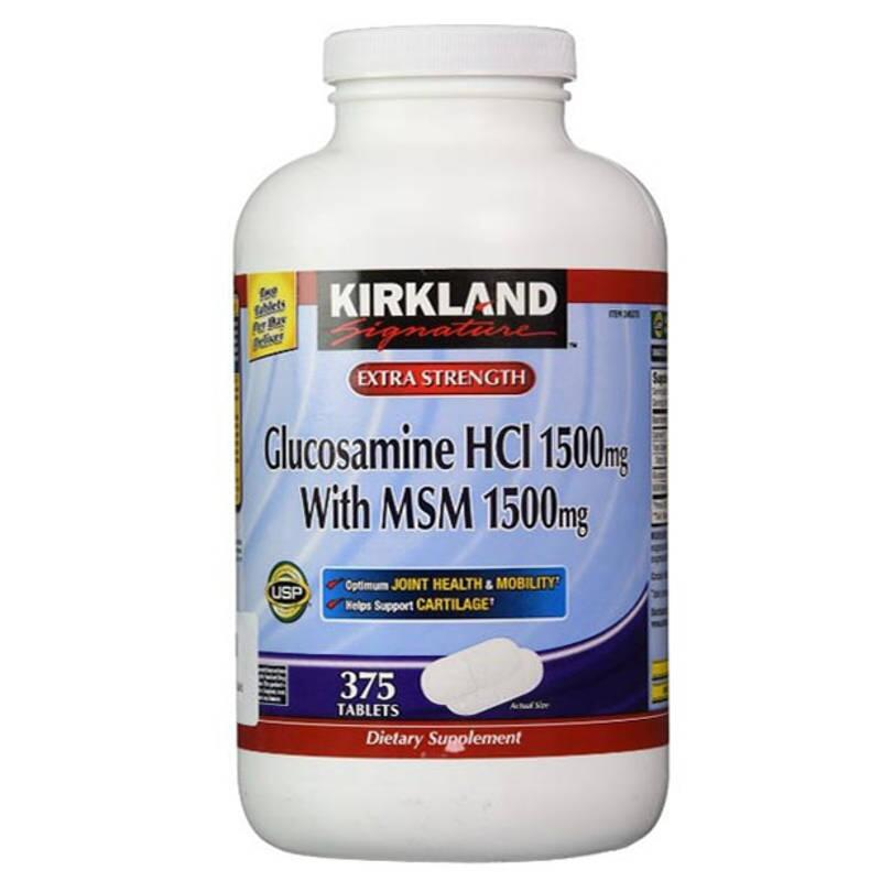 Kirkland Glucosamine HCL 1500mg With MSM 1500mg 375 Viên