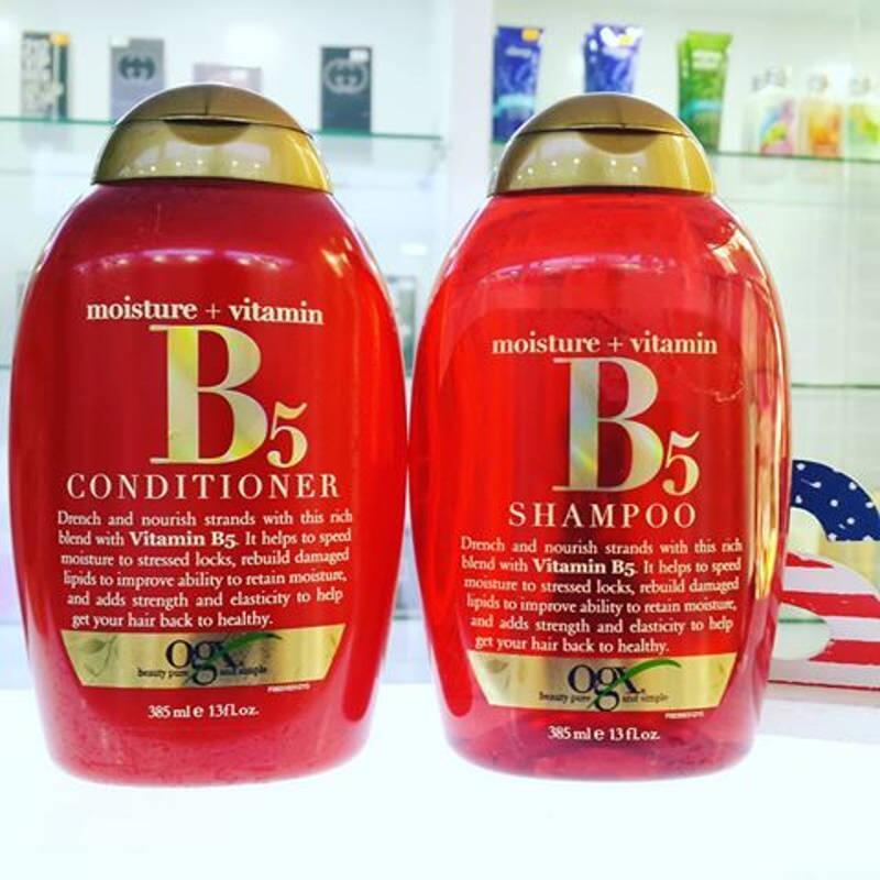 Dầu gội và dầu xả OGX Moisture + Vitamin B5 385ml.