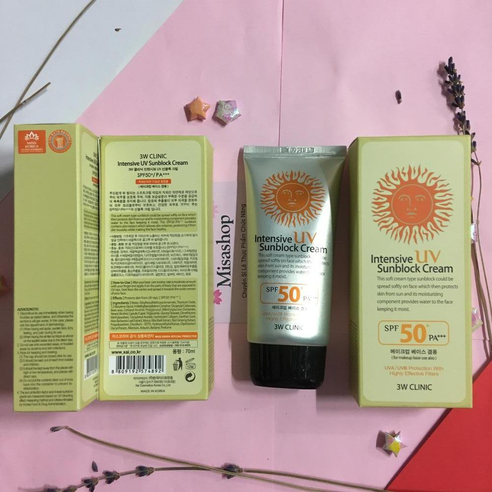 Kem chống nắng 3W Clinic Intensive UV Sunblock Cream SPF 50+ PA+++ 70ml